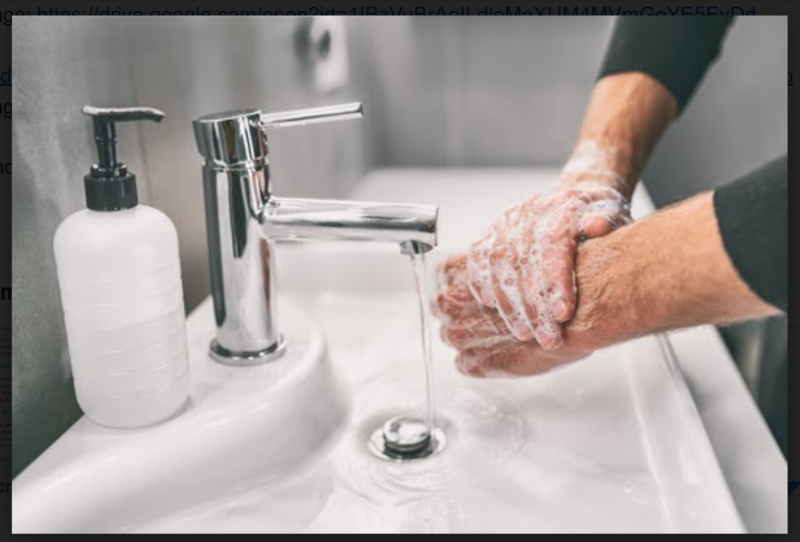 man scrubbing hands